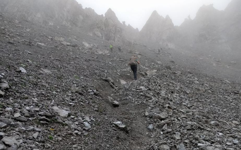 Crossing the Alps rocky way